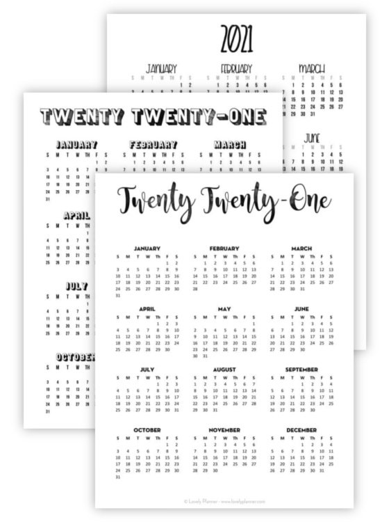 one page bullet journal calendar printables with cute fonts