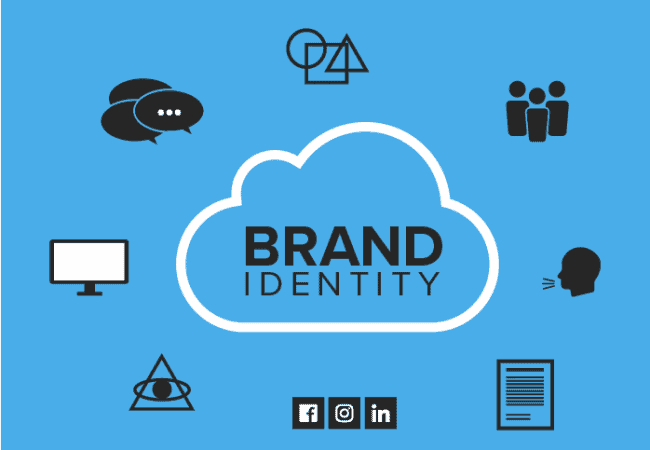 brand identity cloud with social icons