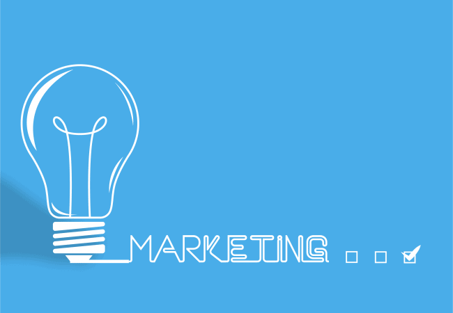 """Blue background with white lightbulb and the text """"Marketing"""""""