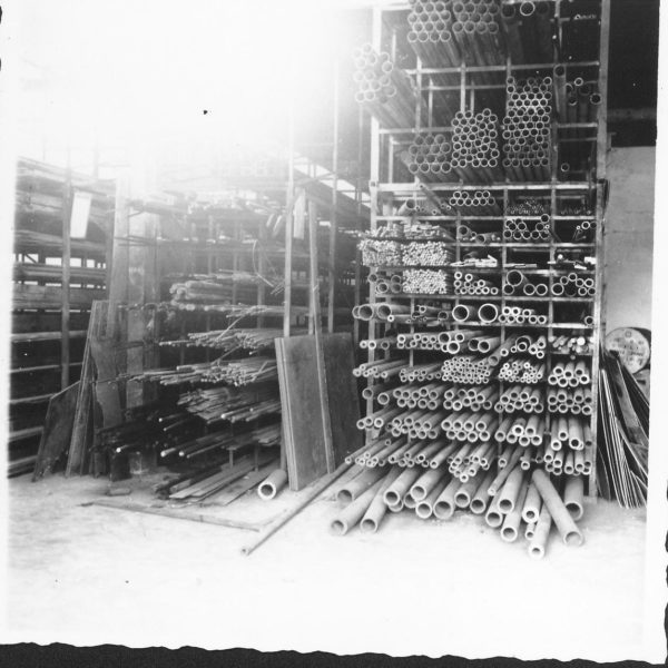 Stållager: Bildet er fra 1963 og viser en del av stållageret.