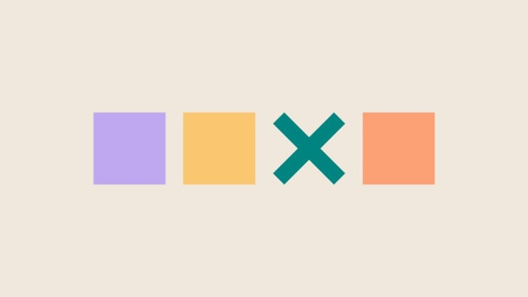 colored squares and a green x on tan background