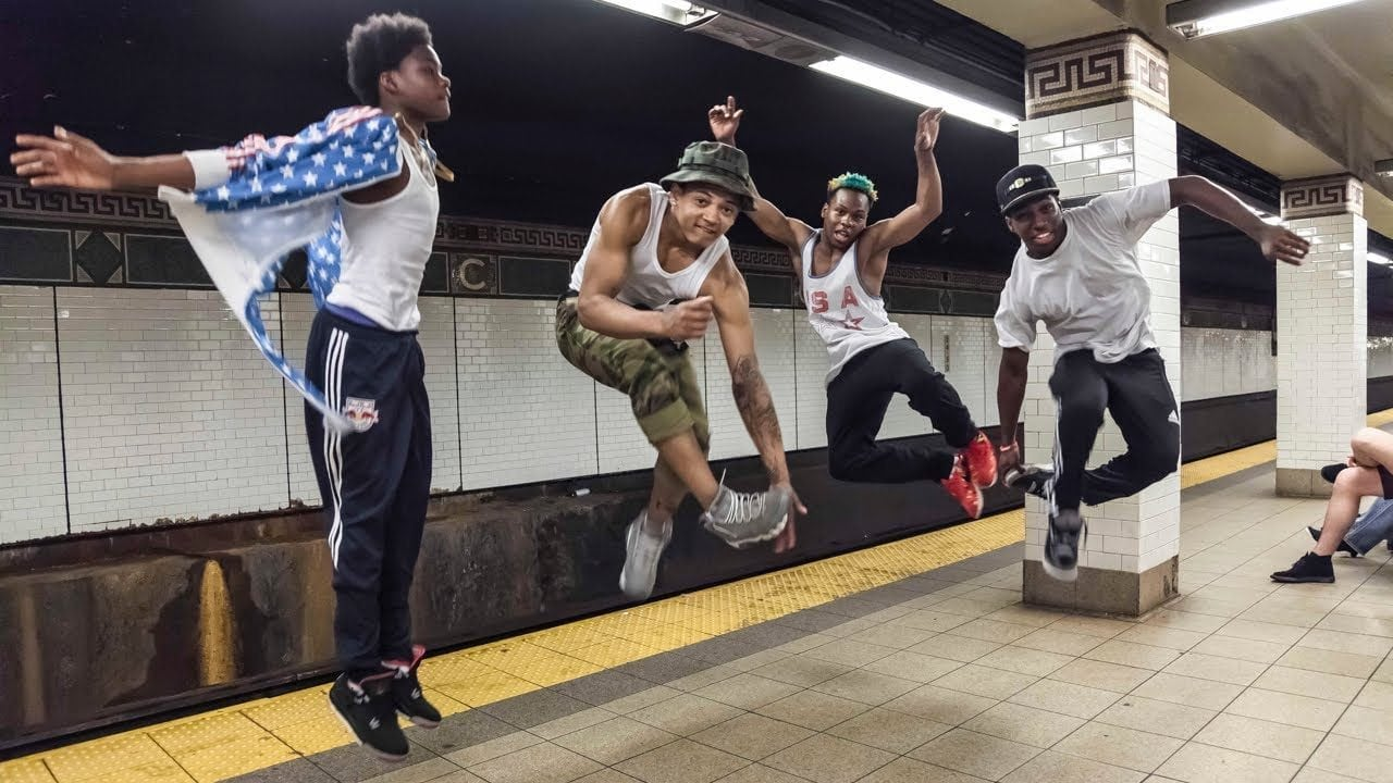 Image: WAFFLE dancers jumping in the subway