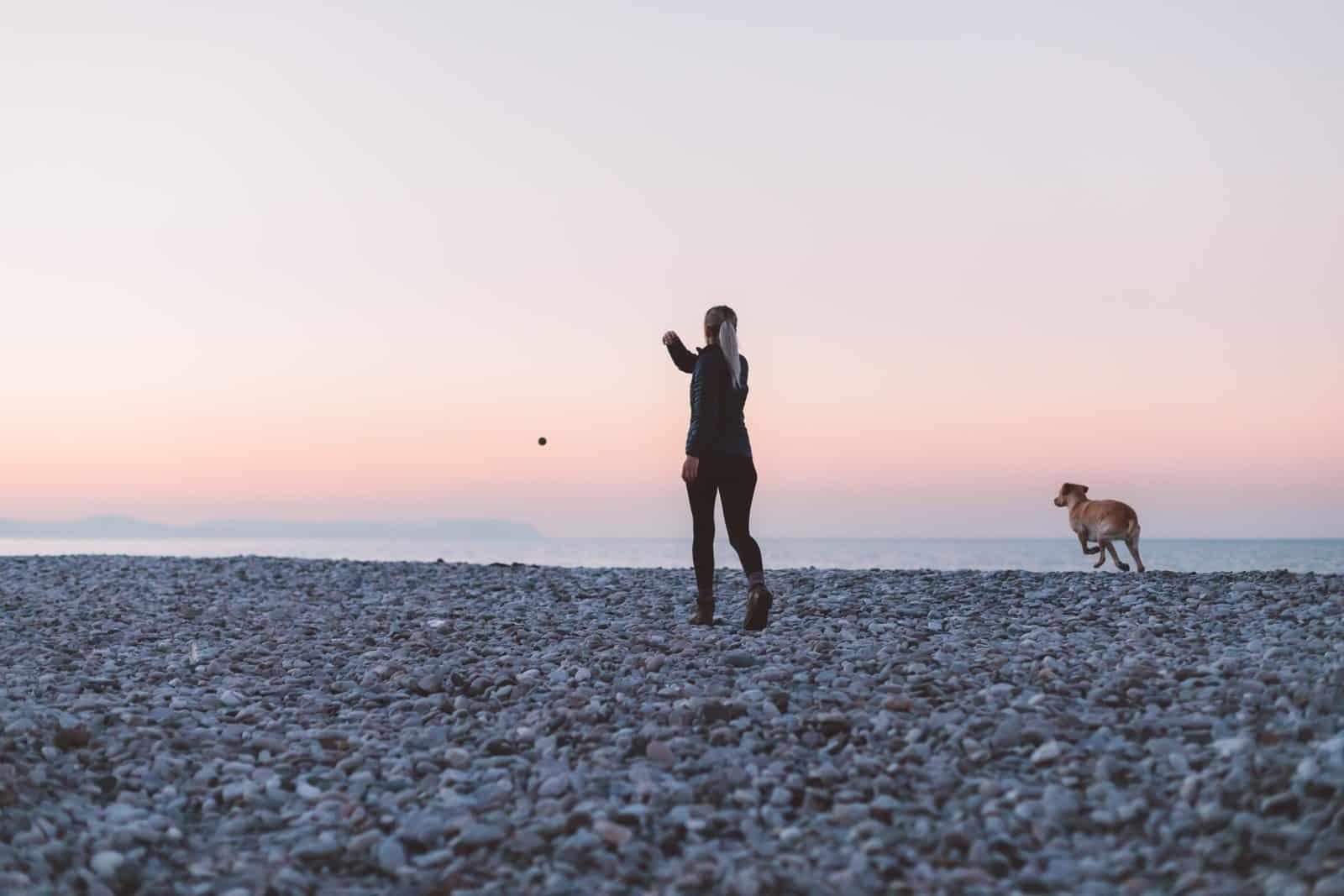 perro mujer playa es