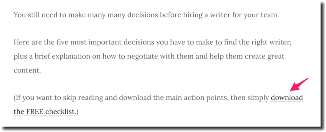 content upgrades Example How to Hire a Team of Rockstar Writers
