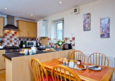 The dining area at 4 Richmond House, Dawlish