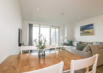 The dining area at Chapel Rock View, Perranporth