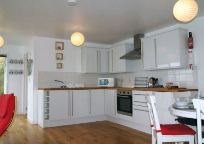 The open-plan kitchen at Cliff End, Treninnow Cliff