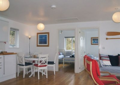 The open-plan dining area at Cliff End, Treninnow Cliff