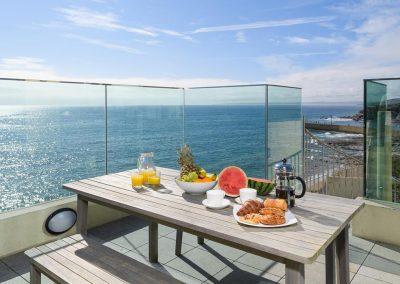The upper terrace at Porthleven Glass House, Porthleven