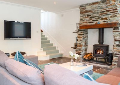 The living area at Rock House, Trebarwith Strand