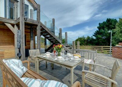 The alfresco dining area at Seaglass, Watermouth