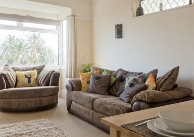 The living area at The Garden Flat, Moorings Apartments, Torquay