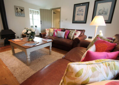 The living area at The Hayloft, Oare