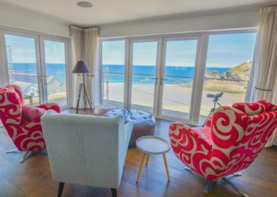 The living area at The Lookout, Portreath