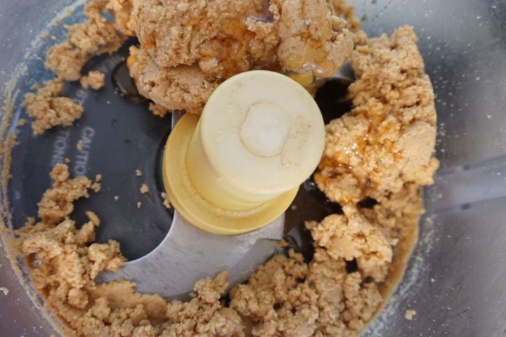 pulsed peanuts with honey in food processor