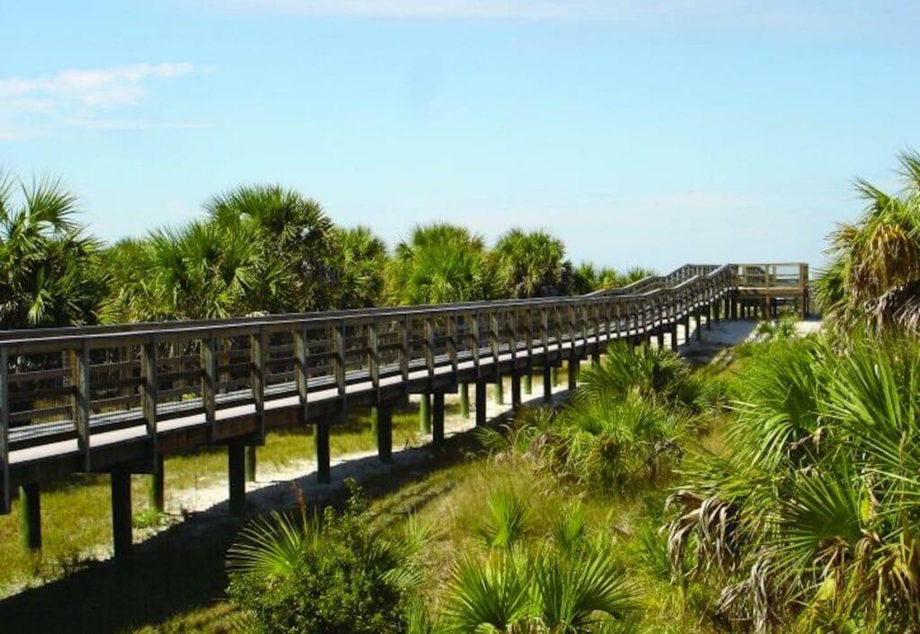 stretch of boardwalk on an island