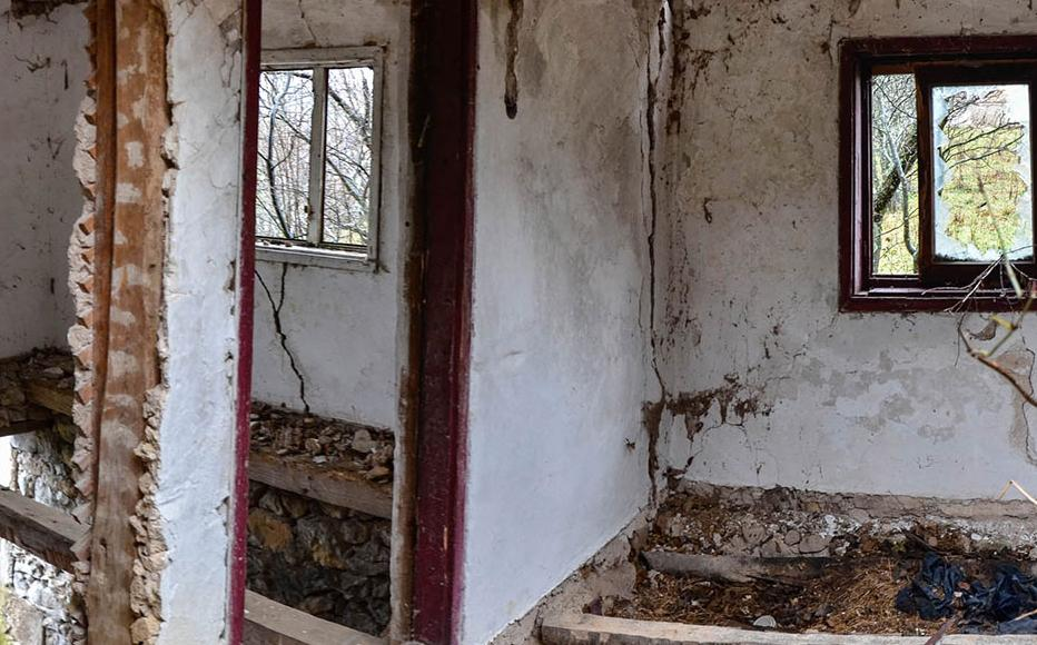 Interior of a wrecked home.