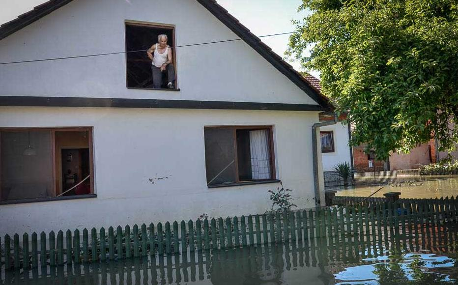 A villager in Prud, stranded in his home. May 20-21, 2014.