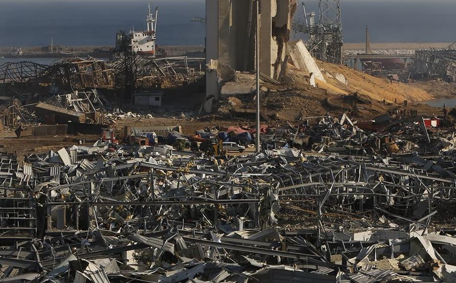 Buildings lie ruined near the city's port, devastated by an explosion a day earlier, on August 5, 2020 in Beirut, Lebanon.