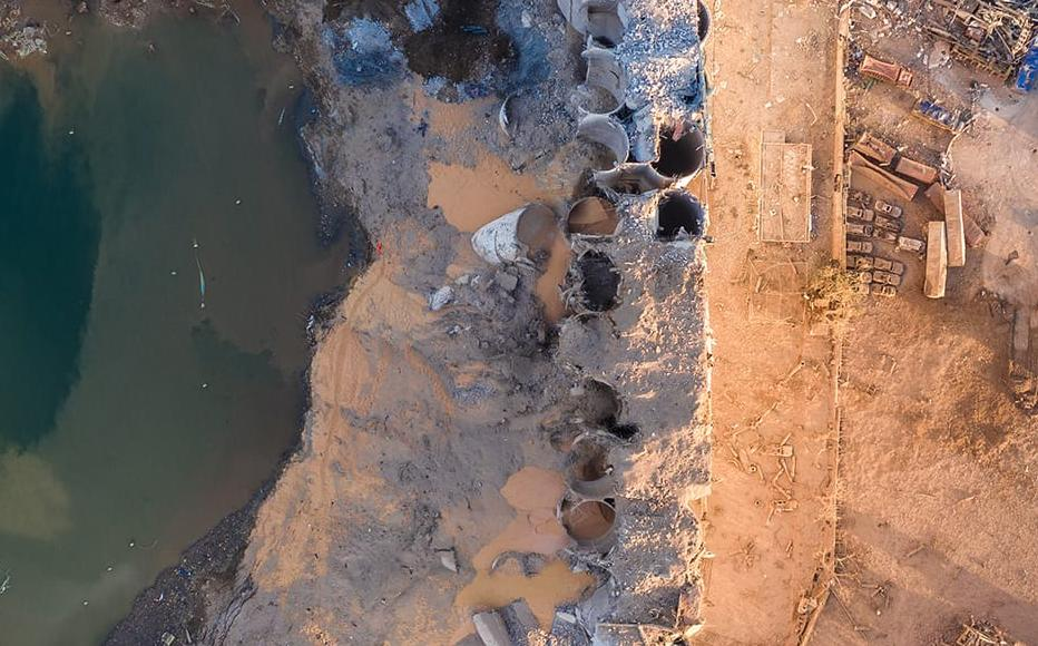 An aerial view of ruined structures at the port, damaged by an explosion a day earlier, on August 5, 2020 in Beirut, Lebanon.