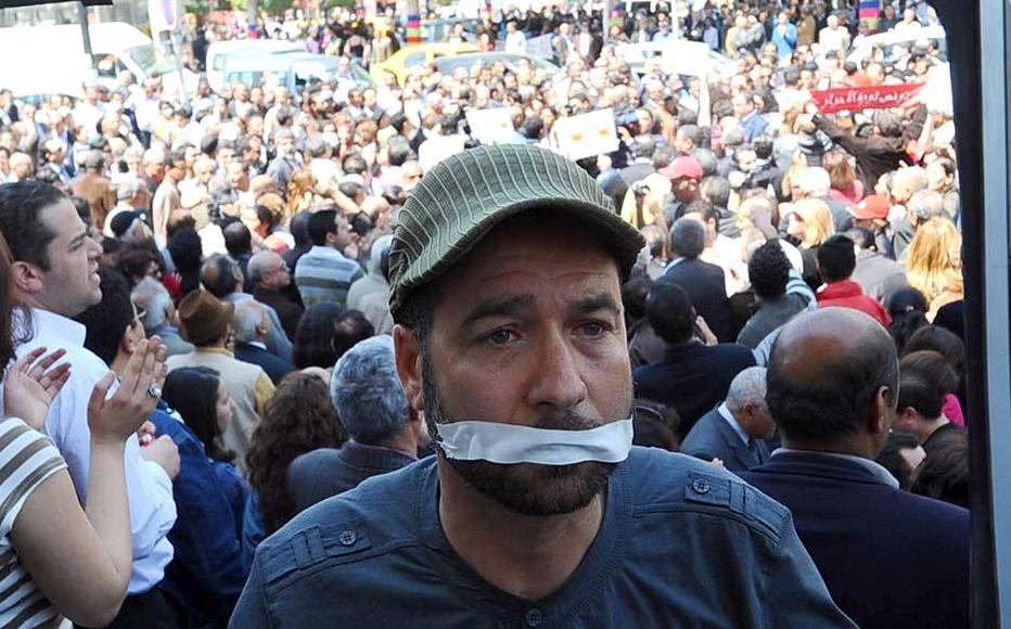 A sit-in outside the municipal theatre in Tunis protesting silencing of TV journalists on April 25, 2012.