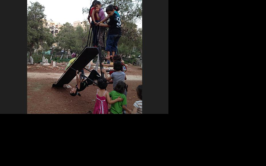 Playground in Martyrs' Cemetery, Aleppo. (Photo: IWPR contributor in Syria)
