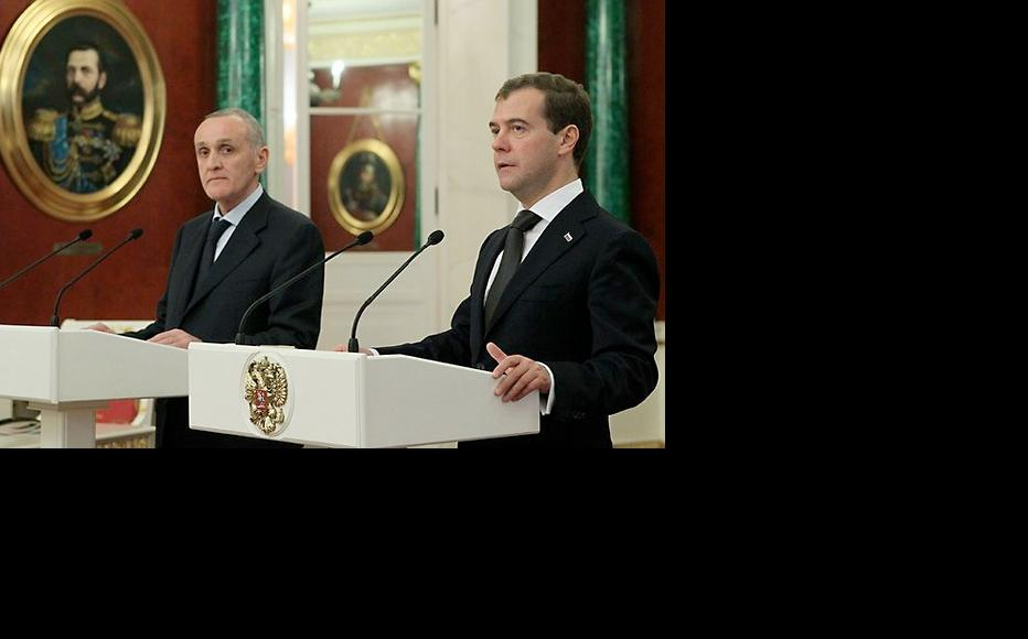 Abkhazian president Alexander Ankvab (left) with Russian prime minister Dmitry Medvedev, who was president when this photo was taken in 2011. (Photo: Russian Presidential Press and Information Office)