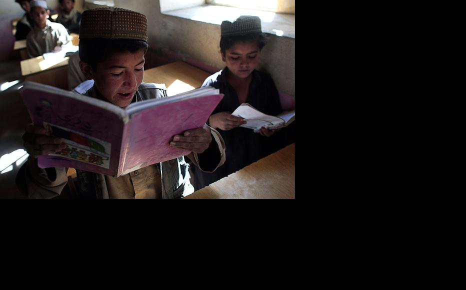 A student reads aloud at a school in Paktika province. (Photo: Chris Hondros/Getty Images)