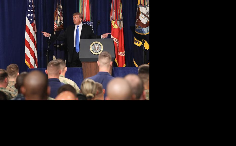 U.S. President Donald Trump gestures before delivering remarks on Americas military involvement in Afghanistan at the Fort Myer military base on August 21, 2017 in Arlington, Virginia. (Photo: Mark Wilson/Getty Images)