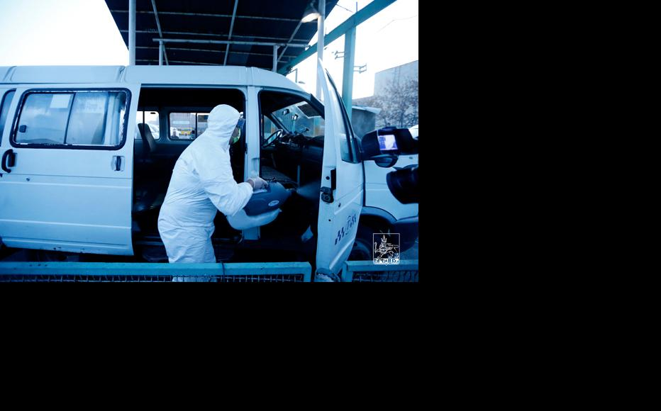 Disinfecting public transport vehicles in Yerevan. (Photo: Armenian Government website)