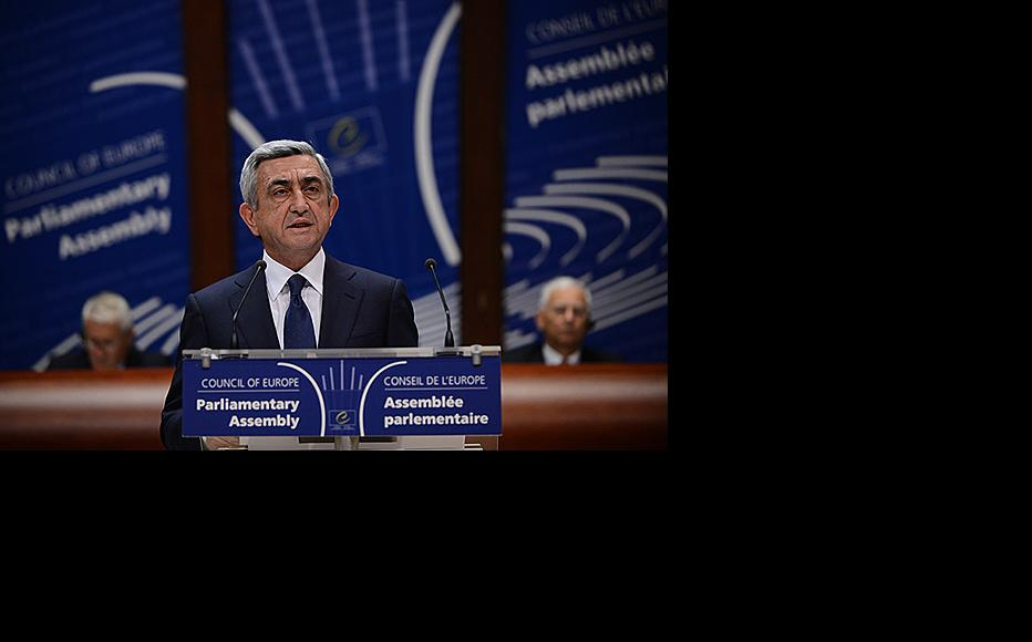 President Serzh Sargsyan address the Parliamentary Assembly of the Council of Europe, October 2, 2013. (Photo: Armenian president's website)