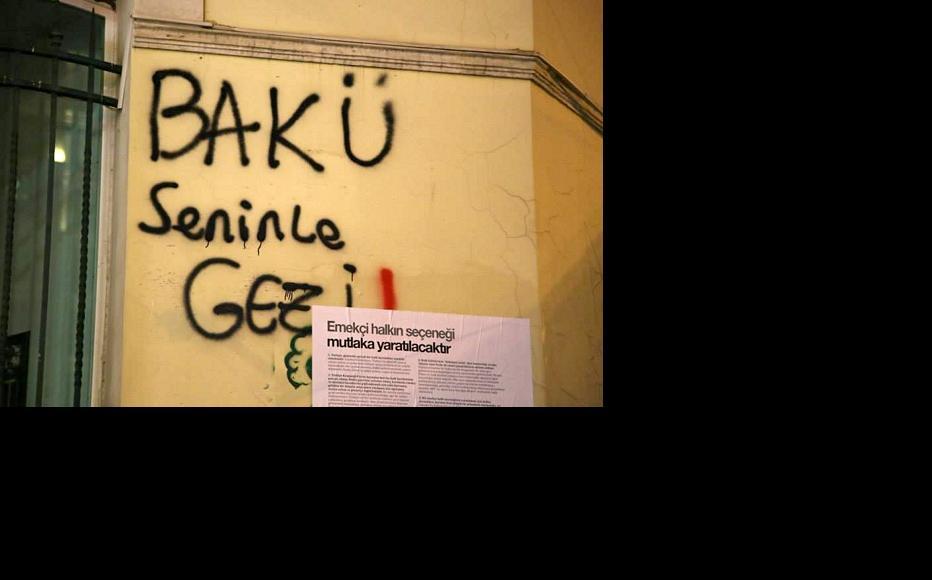 "Graffiti on an Istanbul wall: ""Baku is with you, Gezi"". (Photo: Arzu Geybullayeva)"