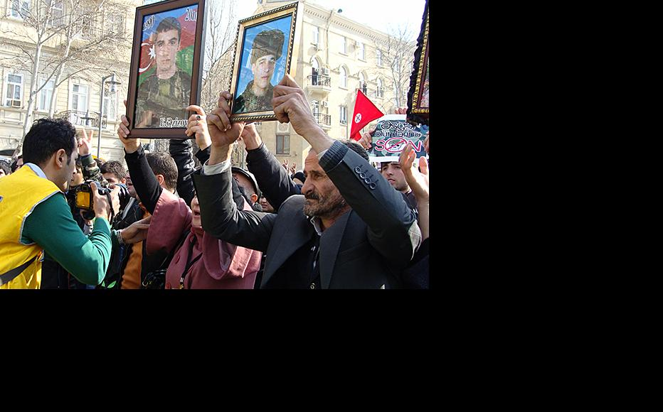Protesters were angry about the frequent deaths of young conscripts. (Photo: Aliya Haqverdi)