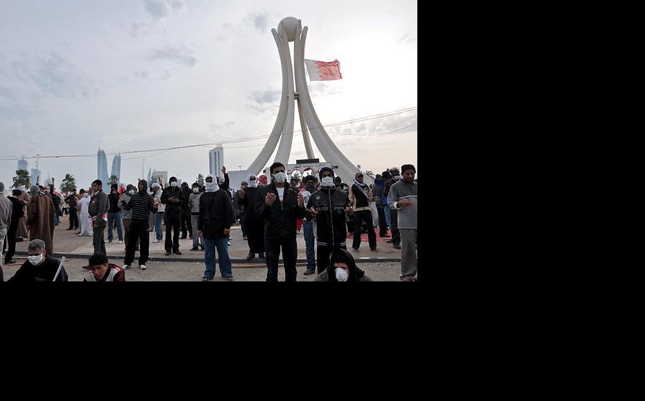 Bahraini protesters at Manama's Pearl roundabout, April 20.
