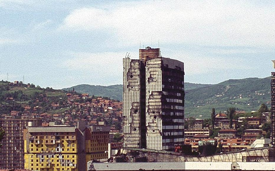 Panorama of war scarred Sarajevo taken in 1996, just after the siege ended.