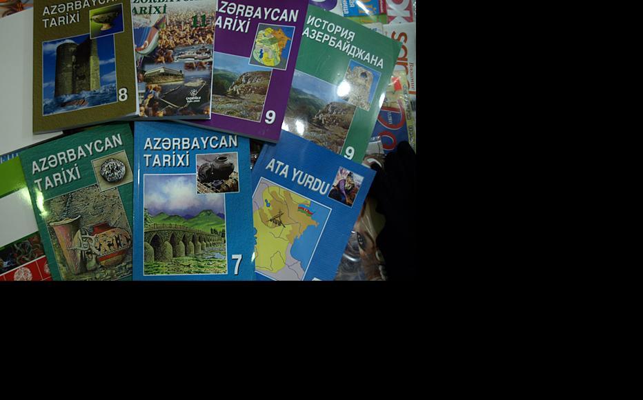 Standard history textbooks used in Azerbaijani schools. (Photo: Shahla Sultanova)