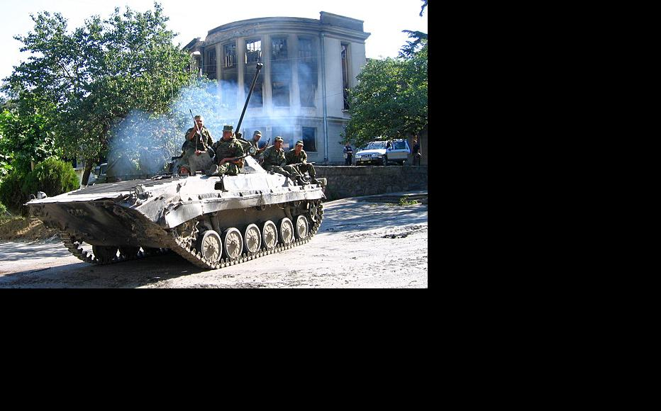 A Russian army vehicle in South Ossetia, August 2008. (Photo: Yana Amelina/Wikimedia Commons)