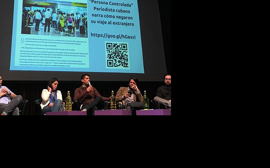 Panel at the Latin American Digital Media and Journalism Forum held in Mexico City, November 2017. (Photo: IWPR)