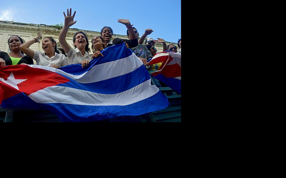Students celebrating the communist revolution in Havana. (Photo: Yariel Valdes)