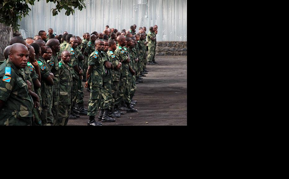 Congolese troops at an army base in Goma, North Kivu. (Photo: Mélanie Gouby)
