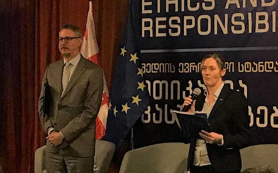 Carl Hartzell, Head of the EU Delegation to Georgia and Kate Fearon, Deputy Head of EUMM at the launch of the 2019 EU Prize for Journalism.