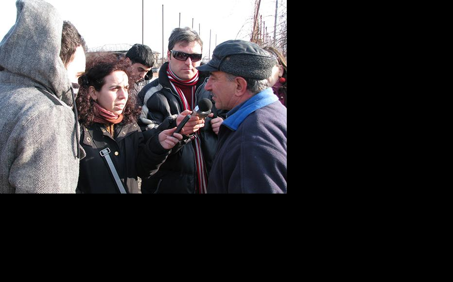Regional journalists from Georgia on a task during the training in villages near South Ossetian conflict zone as a result of which they mastered the skills of audio production. (Photo: IWPR Georgia)