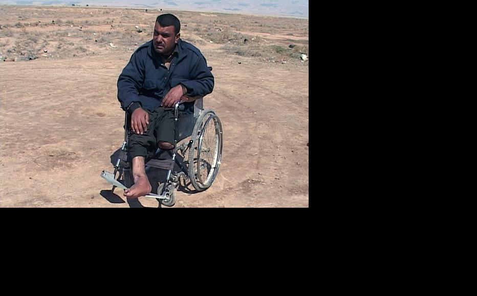 Hasan Kareem, a former farmer who lost his left leg in a landmine blast more than two years ago in the southern province of Maysan. (Photo: Mohammed al-Zaidi)