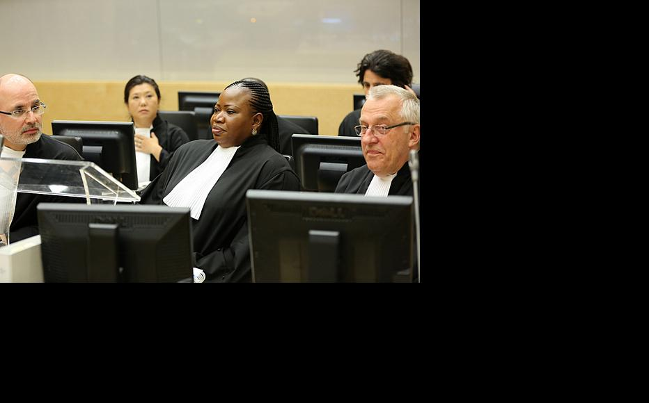 Chief Prosecutor Fatou Bensoda (centre) at the opening of the trial of Kenya's Deputy President William Ruto and journalist Joshua Arap Sang in September 2010. (Photo: ICC-CPI)