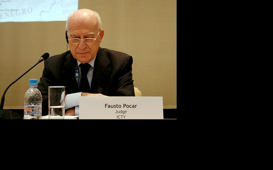 ICTY Judge Fausto Pocar, adressing the conference. (Photo: ICTY)
