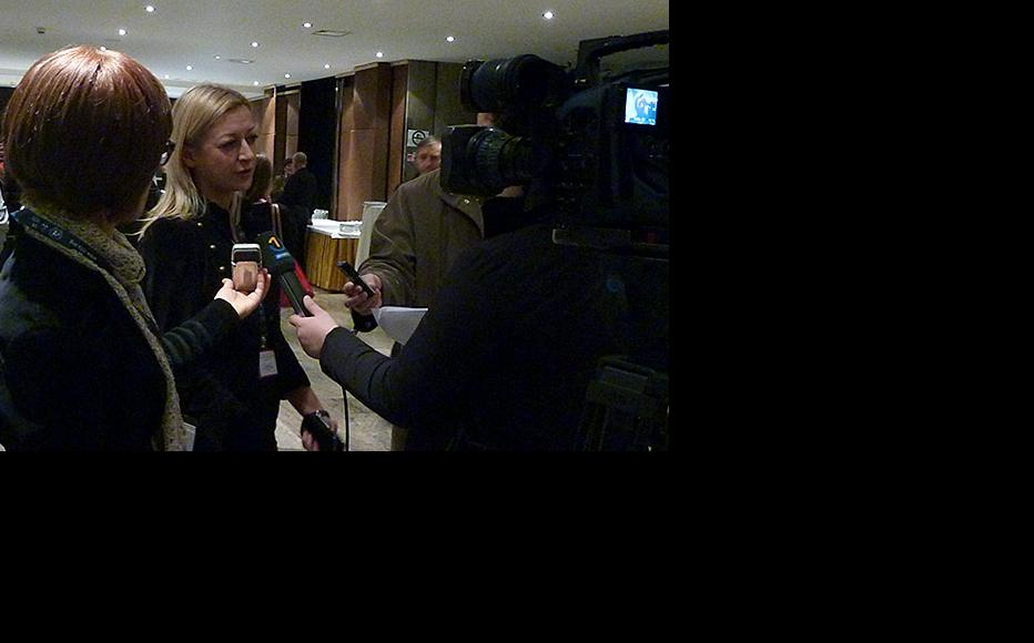 Nerma Jelacic, head of communications at the ICTY, being interviewed by the local media. (Photo: ICTY)