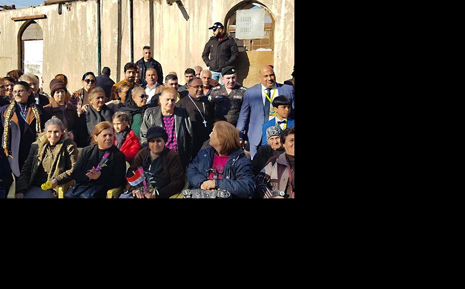 A group photo of the prayers at Al Habaniyah Church. (Photo: SAWT Al Shabab Radio)