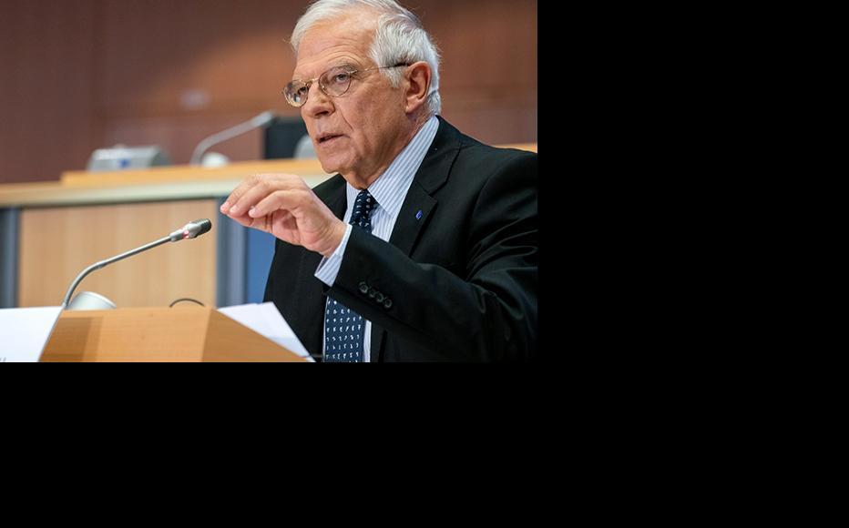 EU High Representative Josep Borrell during a statement on the Karabakh ceasefire's importance. (Photo: EU Press office)