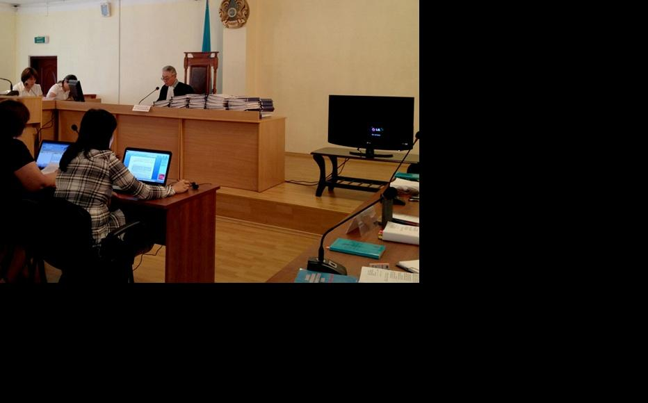 Courtroom in Aktau where Vladimir Kozlov, Serik Sapargali and Akjanat Aminov are on trial. (Photo: Facebook group in support of Kozlov and others)