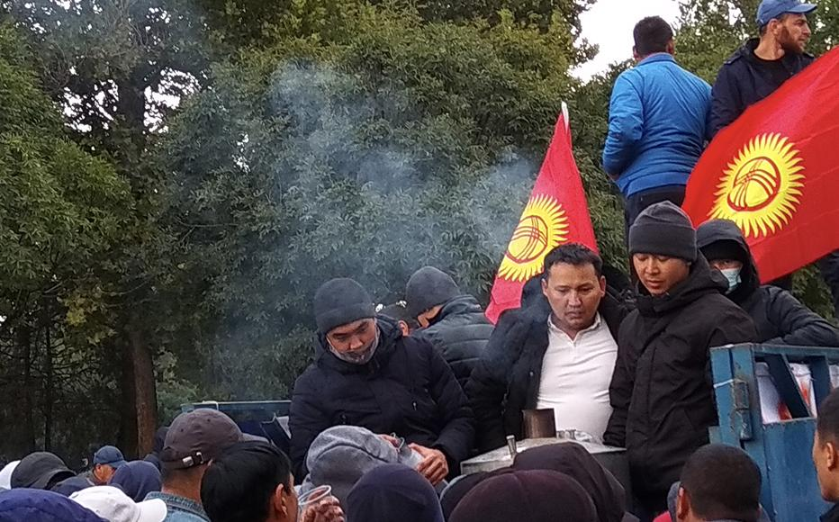 Protesters from numerous political groups continued to gather in Bishkek.